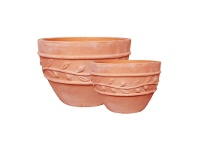 LivingStyles Monte 2 Piece Terracotta Planter Set, Small