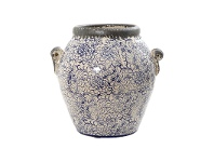 LivingStyles Melia Distressed Ceramic Scroll Arm Pot