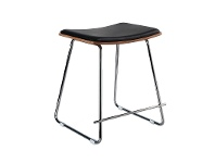 LivingStyles Porter Commercial Grade Steel Table Stool with PU Seat, Black / Chrome