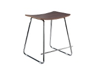 LivingStyles Porter Commercial Grade Steel Table Stool, Walnut / Chrome