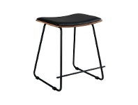 LivingStyles Porter Commercial Grade Steel Table Stool with PU Seat, Black