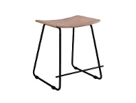 LivingStyles Porter Commercial Grade Steel Table Stool, Natural / Black