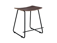 LivingStyles Porter Commercial Grade Steel Table Stool, Walnut / Black