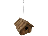 LivingStyles Vasco Solid Mango Wood Timber Bird Feeder, Natural