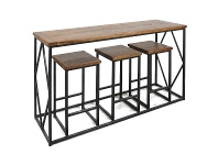 Alfresco 4 Piece Timber & Steel Breakfast Bar Set