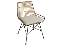 LivingStyles Georgia Rattan & Steel Dining Chair with Fabric Cushion