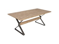 LivingStyles Massot Mango Wood & Metal Dining Table, 180cm