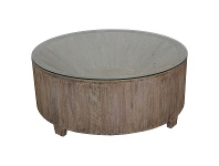 LivingStyles Biron Teak Timber Round Coffee Table with Glass Top, 90cm