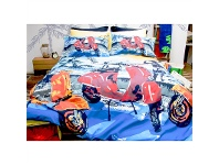 LivingStyles Retro Scooter King Size Panel Print Quilt Cover Set - Blue