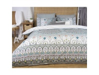 LivingStyles Mandala Double Size Reversible Printed Quilt Cover Set - Grey