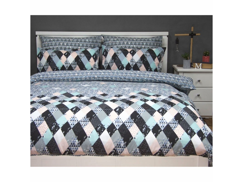 Axel Single Size Reversible Printed Quilt Cover Set - Blue