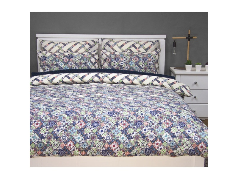 Corley King Size Reversible Printed Quilt Cover Set - Multi