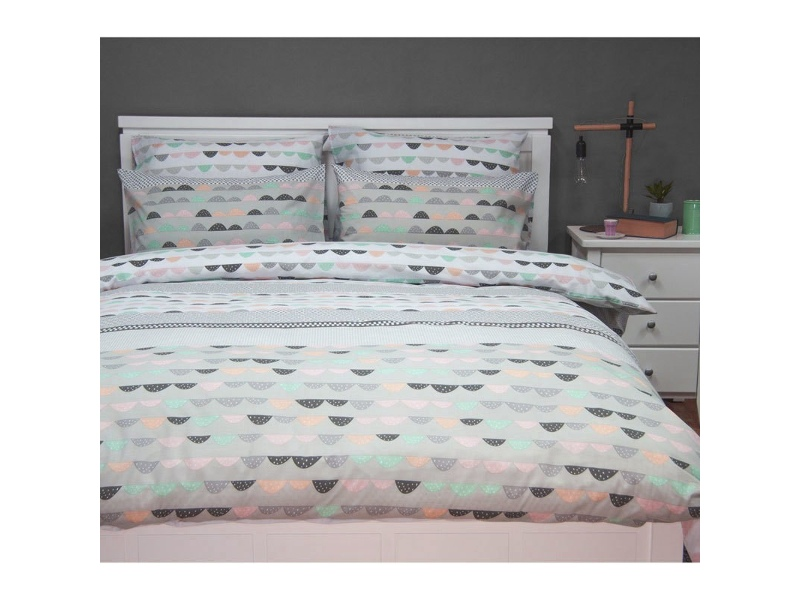 Eve Queen Size Reversible Printed Quilt Cover Set - Grey