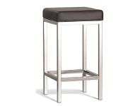LivingStyles Borgo Commercial Grade Polished Stainless Steel Counter Stool, Brown