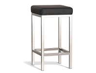 LivingStyles Borgo Commercial Grade Polished Stainless Steel Counter Stool, Black