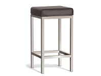 LivingStyles Borgo Commercial Grade Brushed Stainless Steel Counter Stool, Brown