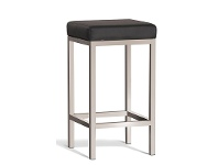 LivingStyles Borgo Commercial Grade Brushed Stainless Steel Counter Stool, Black