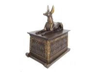 LivingStyles Veronese Cold Cast Bronze Coated Anubis Trinket Box, Small