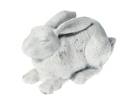 LivingStyles Cast Iron Napping Rabbit Figurine Garden Decor, Antique White