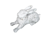 LivingStyles Cast Iron Lying Rabbit Figurine Garden Decor, Antique White