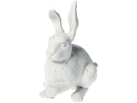 LivingStyles Cast Iron Sitting Rabbit Figurine Garden Decor, Antique White