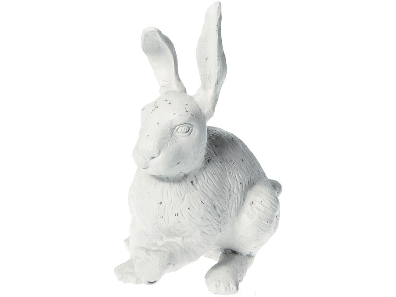Cast Iron Sitting Rabbit Figurine Garden Decor, Antique White