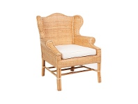 LivingStyles St.Barts Hand Woven Wicker and Rattan Armchair with Seat Cushion