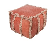 LivingStyles Kitson Stone Washed Cotton Square Bean Bag Ottoman, Red