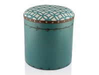 LivingStyles Capertee Wooden Storage Stool with Padded Fabric Seat, Turqoise