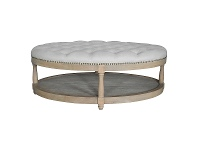 LivingStyles Adam Oak Timber Oval Ottoman with Tufted Linen Top, Weathered Oak / Oatmeal