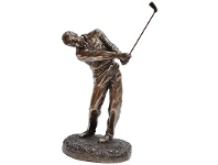 LivingStyles Veronese Cold Cast Bronze Coated Golf Player Figurine, Follow Through
