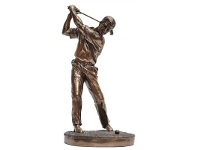 LivingStyles Veronese Cold Cast Bronze Coated Golf Player Figurine, Swing