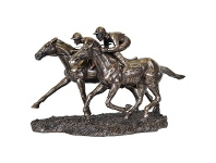LivingStyles Veronese Cold Cast Bronze Coated Figurine, Racing Jockeys