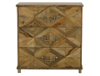 LivingStyles Miles Wood Inlay 3 Drawer Chest - Natural