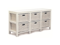 LivingStyles Solid Mahogany Timber Storage Unit with 6 Rattan Baskets, White