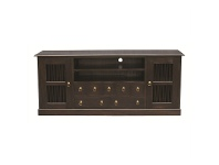 LivingStyles Ruji Solid Mahogany Timber 2 Door 7 Drawer 187cm TV Unit - Chocolate