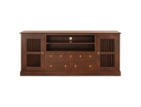 LivingStyles Ruji Solid Mahogany Timber 2 Door 7 Drawer 187cm TV Unit - Mahogany