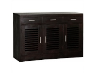 LivingStyles Holland Solid Mahogany 3 Door 3 Drawer Buffet Table, Chocolate