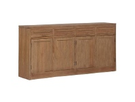 LivingStyles Venice Solid Mahogany Timber 4 Door 4 Drawer Buffet Table, 180cm, Teak