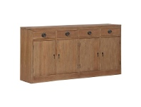 LivingStyles Vienna Solid Mahogany Timber 4 Door 4 Drawer Buffet Table, 180cm, Teak