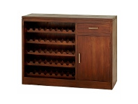 LivingStyles Paris Solid Mahogany Timber 1 Door 1 Drawer 120cm Sideboard with Wine Racks - Mahogany