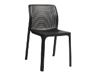 LivingStyles Bit Italian Made Commercial Grade Indoor/Outdoor Dining Chair, Anthracite