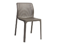 LivingStyles Bit Italian Made Commercial Grade Indoor/Outdoor Dining Chair, Taupe