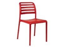 LivingStyles Costa Italian Made Commercial Grade Stackable Indoor / Outdoor Dining Chair, Red