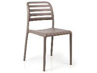 LivingStyles Costa Italian Made Commercial Grade Stackable Indoor / Outdoor Dining Chair, Taupe