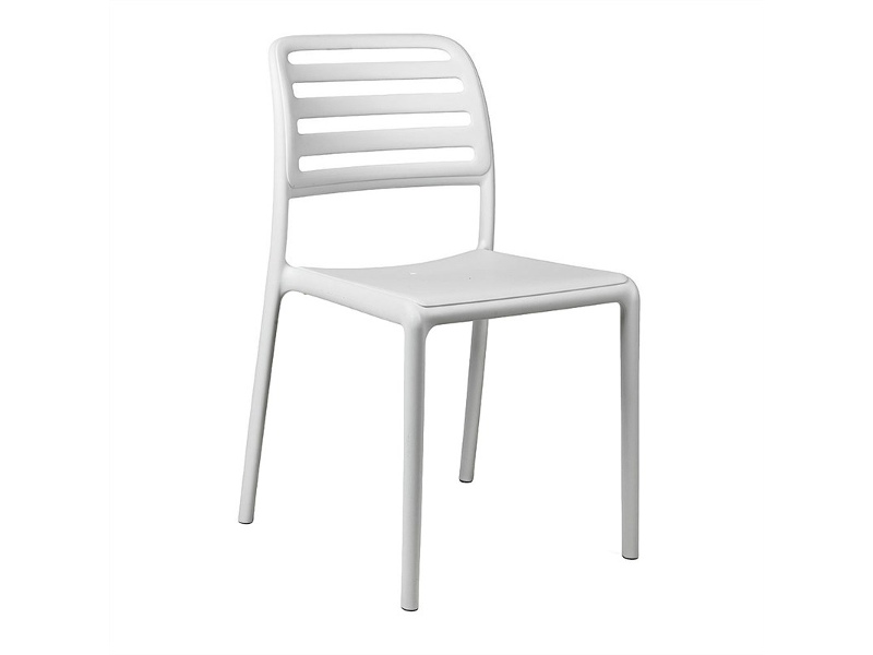 Costa Italian Made Commercial Grade Stackable Indoor / Outdoor Dining Chair, White