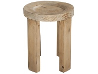 LivingStyles Chandler Recycled Timber Dish Top Round Stool