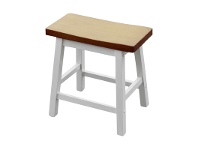 LivingStyles Sander Timber Table Stool, White / Teak