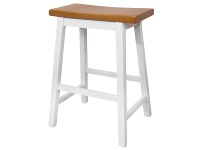 LivingStyles Sander Timber Bar Stool, White / Teak