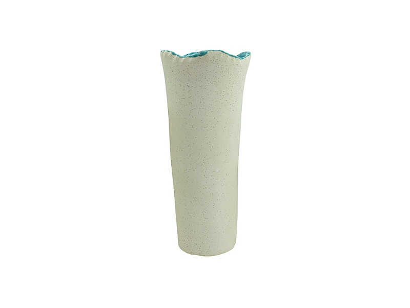 Sage Ceramic Vase, Large, Cream / Turquoise